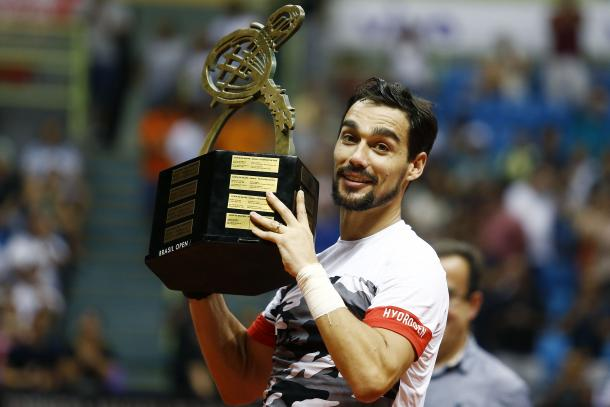 Fabio Fognini won the title in Sao Paulo this week, hoisting his sixth ATP World Tour clay court trophy. Photo: Brasil Open