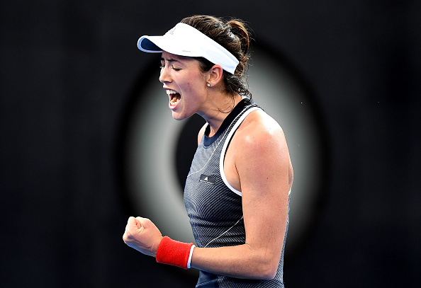 Garbine Muguruza celebrates winning the opening set 7-5 after an hour of play | Photo: Bradley Kanaris/Getty Images AsiaPac