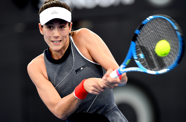 Garbine Muguruza in action during her second-round match against Krunic, though she was later forced to retire | Photo: Bradley Kanaris/Getty Images AsiaPac