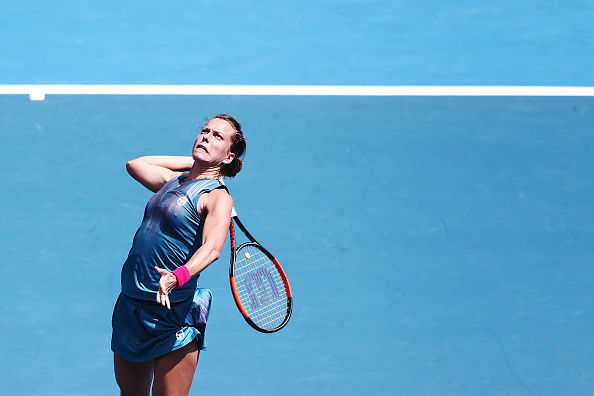 Barbora Strycova prepares for an overhead shot | Photo: Anthony Au-Yeung/Getty Images AsiaPac