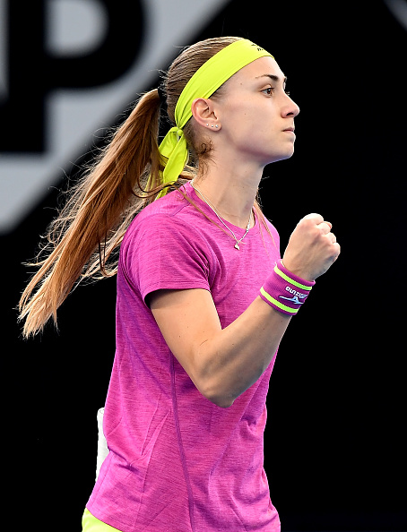 Aleksandra Krunic celebrates winning the second set 7-6 having came from 2-5 down | Photo: Photo: Bradley Kanaris/Getty Images AsiaPac