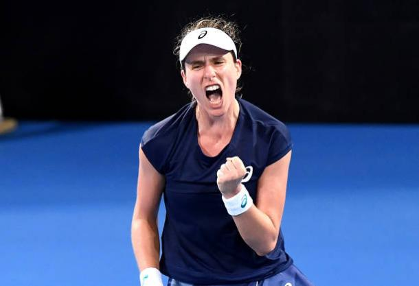 Konta in action during her victory over Ajla Tomljanovic at the Brisbane International (Getty/Bradley Kanaris)