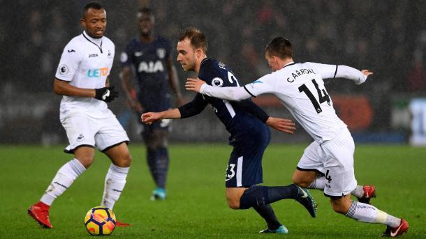 Eriksen asistió a Llorente en el primer gol de los Spurs | Foto: Premier League.