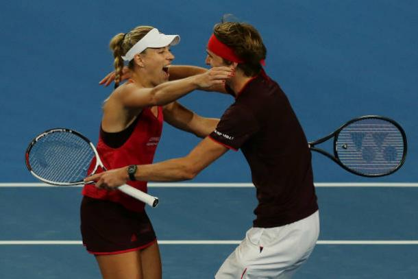 Kerber and Zverev celebrate securing their place in the final after beating Australia (Getty/Will Russell)