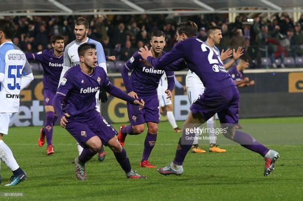 Gio Simeone tras marcar en el descuento al Inter / Foto: gettyimages
