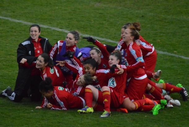 Rodez celebrate their victory on penalties. | Photo: Footfeminin.fr