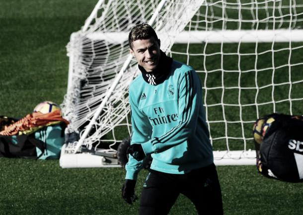 Cristiano Ronaldo no último treino do Real Madrid | Foto: Pierre-Philippe Marcou/Getty Images