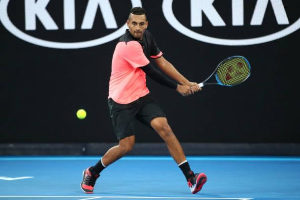 Kyrgios in action today (Getty/Clive Brunskill)