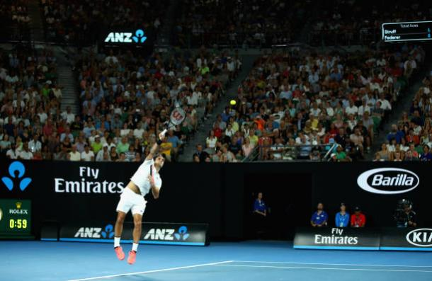 Federer serving during the second set of the match (Getty/Clive Brunskill)