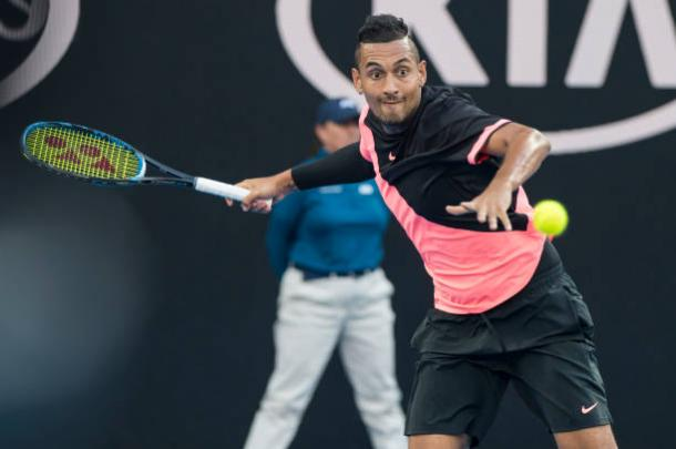 Kyrgios put in another fine performance to secure his place in the second week (Getty/Cameron Spencer)