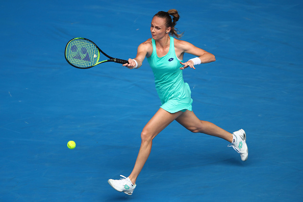 Magdalena Rybarikova in action during her fourth round of the Australian Open. (Photo: Getty Images/Caroline Wozniacki hits a tweener during her fourth round match of the Australian Open. (Photo: Getty Images/Clive Brunskill))