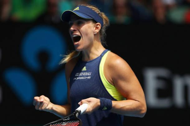 Angelique Kerber celebrates her quarterfinal victory (Getty/Cameron Spencer)