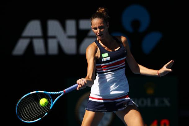 Pliskova's wait for a first Major title must go on, as she struggled to match Halep in their last eight clash (Getty/Clive Brunskill)