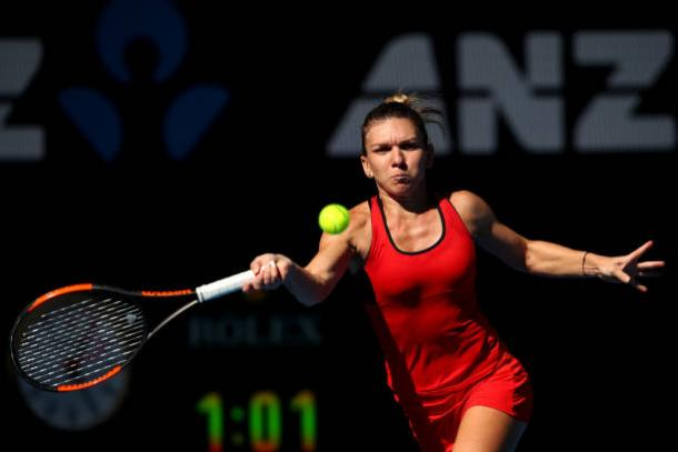 Halep started slowly but eventually proved too strong for the world number six, on the Rod Laver Arena (Getty/Clive Brunskill)