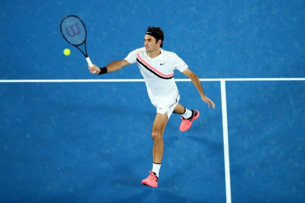 Federer in action during the match (Getty/Cameron Spencer)