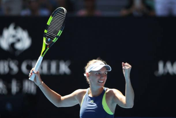 Wozniacki celebrates reaching her first ever Australian Open final after beating Elise Mertens (Getty/Mark Kolbe)