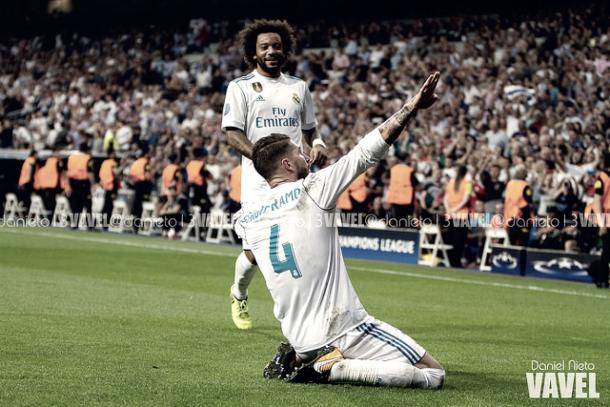 Sergio Ramos celebra un gol en la compañía de Marcelo | Foto: VAVEL