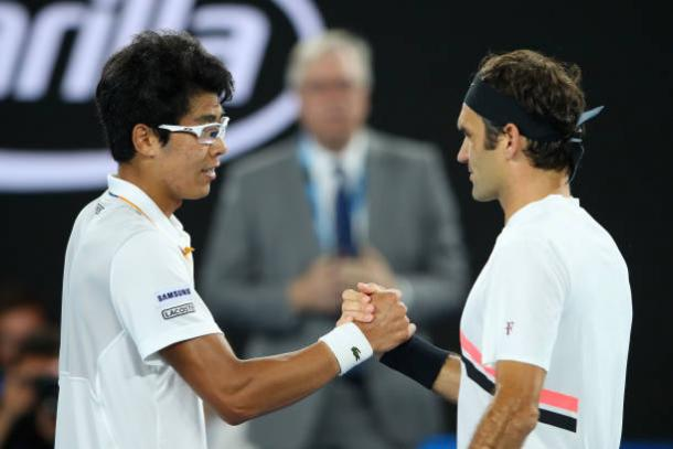 Chung and Federer meet following their match (Getty/Mark Kolbe)