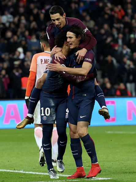Trio marcou os quatro gols do PSG (Foto: Xavier Laine/Getty Images)