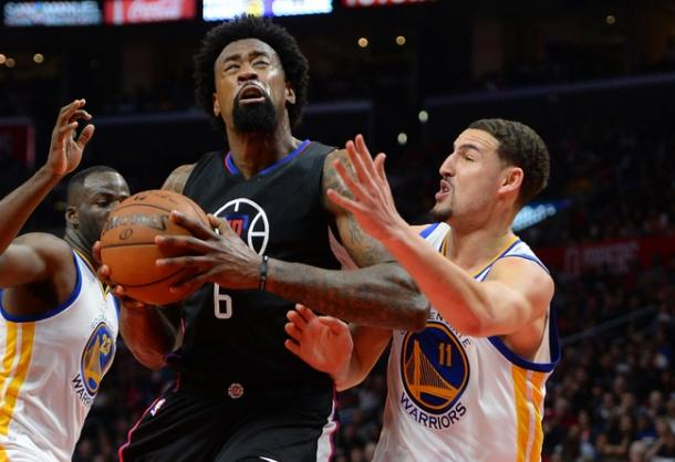 Golden State Warriors guard Klay Thompson (11) guards Los Angeles Clippers center DeAndre Jordan (6). | Jayne Kamin-Oncea-USA TODAY Sports