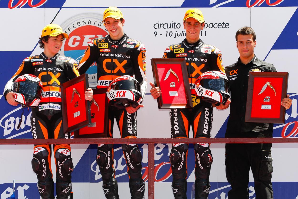 Podio de la carrera de Albacete 2011 compuesto por Bagnaia, Márquez y Rins / Fuente: fimcevrepsol.com
