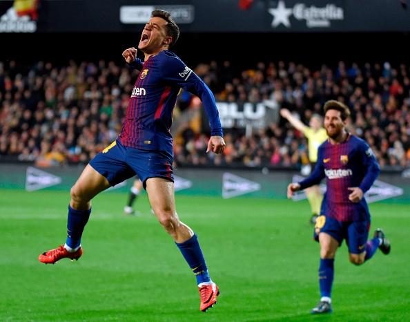 Coutinho marcou o primeiro gol com a camisa do Barça (Foto: Jose Jordan/AFP/Getty Images)