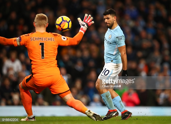 MANCHESTER, ENGLAND - FEBRUARY 10: Sergio Aguero of Manchester City scores a hat-trick, his side's fourth goal during the Premier League match between Manchester City and Leicester City at Etihad Stadium on February 10, 2018 in Manchester, England. (Photo by Clive Brunskill/Getty Images)