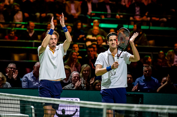 Pierre-Hugues Herbert and Nicolas Mahut celebrate winning a match in Rotterdam (Photo: Soccrates Images)