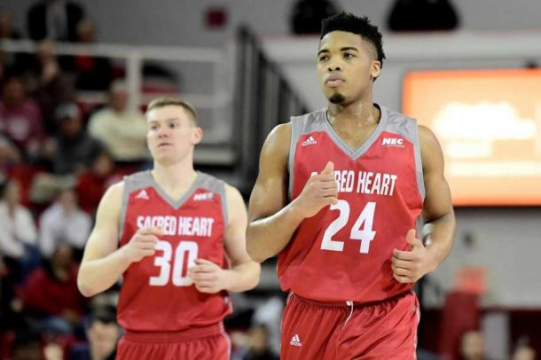 Anosike (r.) is trying to get Sacred Heart into the NCAA's for the first time ever/Photo: Steven Ryan/Getty Images