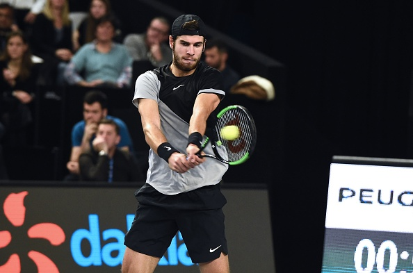 Karen Khachanov plays a forehand shot (Photo: Boris Horvat/Getty Images)