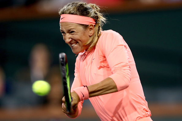 Azarenka with a huge hold in the seventh game to hold on to the lead | Photo: Matthew Stockman/Getty Images