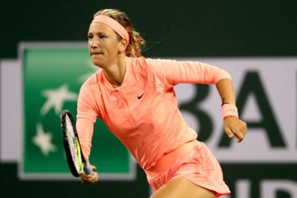 Azarenka races to a 3-0 lead in the second set | Photo: Matthew Stockman/Getty Images