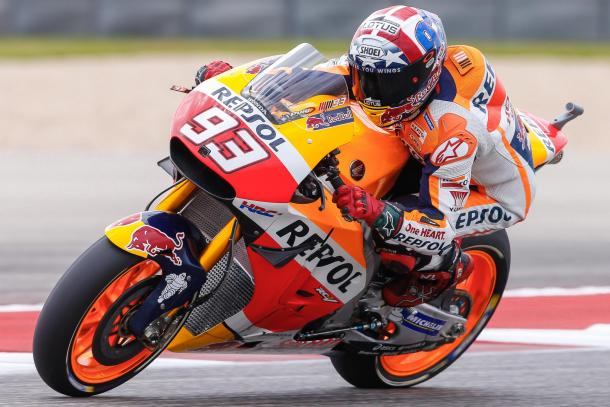Marquez a bordo de su Honda recorre el circuito de Austin. Foto: Moto GP.