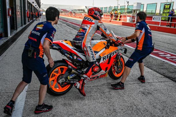 Márquez saliendo a pista durante el test. Imagen: MotoGP