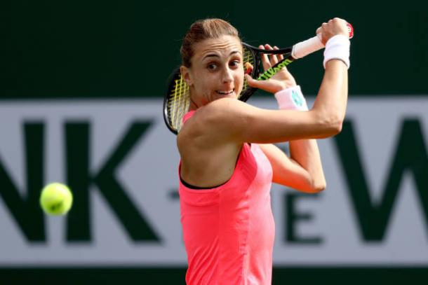 Petra Martic impressively rebounded from losing her opening service game, though she was still unable to make a breakthrough on the return having not earned any break points | Photo: Matthew Stockman/Getty Images North America