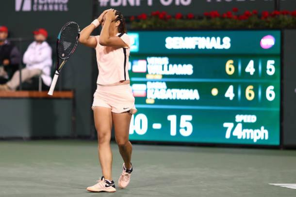 Kasatkina celebrates her semifinal win over Venus Williams (Getty/Joe Scarnici)