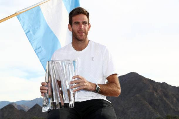 Del Potro poses with his Indian Wells title- his first ever Masters 1000 victory (Getty/Matthew Stockman)