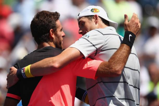 Del Potro and Isner greet each other following their semifinal encounter (Getty Images Sport/Clive Brunskill)
