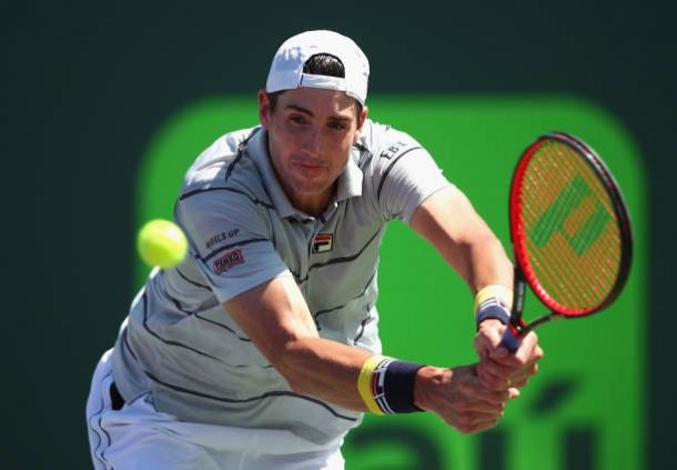 Isner in action during the match (Getty Images Sport/Clive Brunskill)