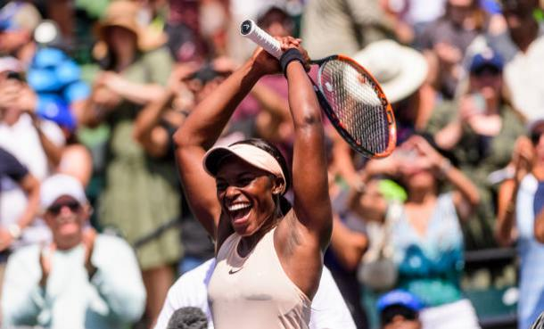 Stephens celebrates winning her sixth WTA Tour title (Getty Images Sport/Mike Frey)