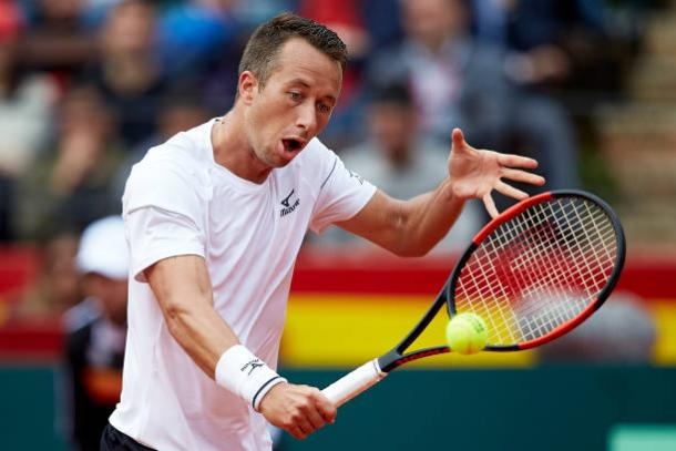 Philipp Kohlschreiber earned break point in the opening game, but failed to convert as everything went wrong from then   NurPhoto via Getty Images Sport