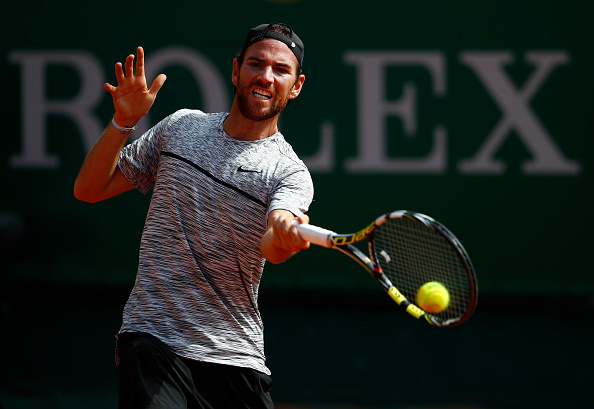 Adrian Mannarino strikes a forehand shot en-route to claiming the second set (Photo: Julian Finney/Getty Images)
