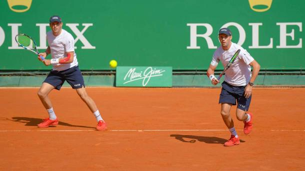 Bob and Mike Bryan in action during the Monte Carlo Rolex Master last month (Photo: @ATPWorldTour)
