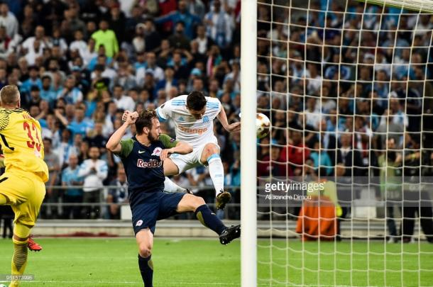 Florian Thauvin scores the first goal for Marseille. | Photo: Alexandre Dimou/Icon Sport via Getty Images.