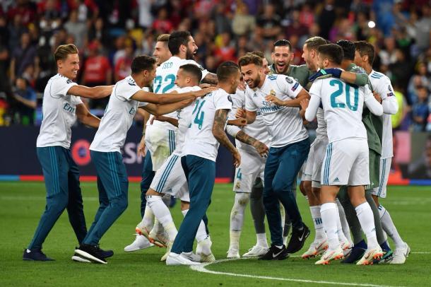 El Madrid celebra su título europeo en Kiev. Fuente: UEFA Champions League.