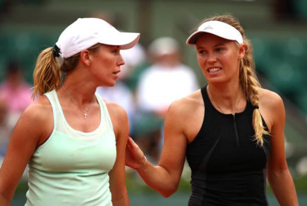 Collins and Wozniacki following the conclusion of their match (Getty/Clive Brunskill)