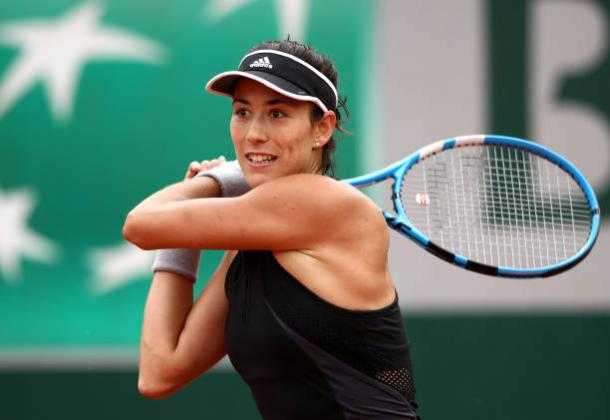 Muguruza in action during her first round match against Kuznetsova (Getty/Cameron Spencer)