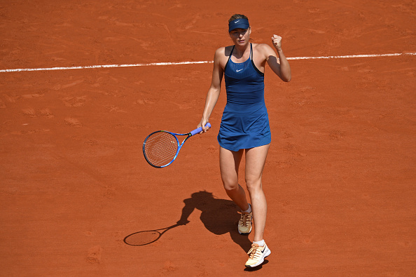 Maria Sharapova celebrates winning a point during the one-sided affair | Photo: Aurelien Meunier/Getty Images Europe