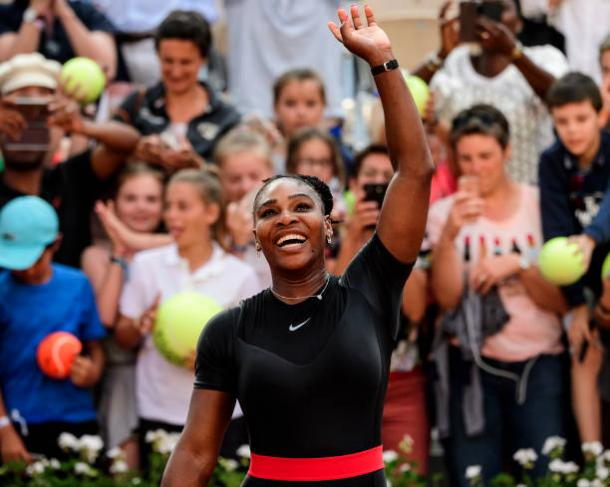 Serena Williams celebrates her third round win over Julia Goerges- the match where she sustained her injury (Getty/Mike Frey)