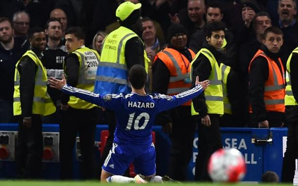 Eden Hazard's goal once again settled the destination of the title. | Photo: Getty Images
